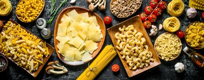 Different raw pasta. Top view royalty free stock photography