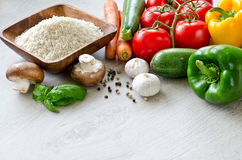 Different raw vegetables and basmati rice copy space Royalty Free Stock Photo