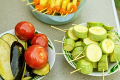 Different raw vegetables, strung on a skewer for grilling. Prepa. Red for a picnic. Concept of healthy, useful food. Selective focus. Close-up Royalty Free Stock Photography