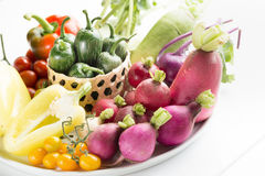 Different raw vegetables on wooden background Royalty Free Stock Images
