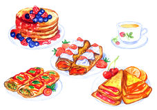 Different recipes of pancakes on plates with cup of tea. Hand Painted Watercolor Illustration Set:  Different recipes of pancakes on plates with cup of tea Stock Photography