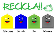 Different recycling bins Royalty Free Stock Images