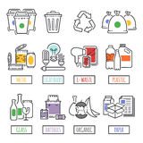 Different recycling garbage waste types sorting processing, treatment remaking trash utilize icons vector illustration. Recycling garbage elements concept and Stock Photography