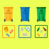 Different recycling garbage waste types sorting processing, treatment remaking trash utilize icons vector illustration. Recycling garbage elements concept and Stock Photos