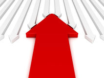 Different red arrow against other team flow Royalty Free Stock Image