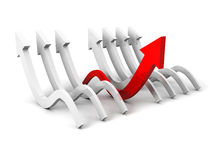 Different red arrow as concept leader of other arrows Royalty Free Stock Photo