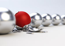 Different red ball. Difference / individuality concept. 3D image stock illustration