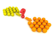 Different red ball choice two concept team groups. 3d Stock Photo