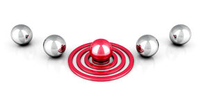 Different red ball on target out from metallic balls Royalty Free Stock Photography