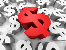 Different Red Big Dollar Currency Symbol. Finance Concept Royalty Free Stock Photo