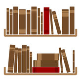 Different red Books On shelf Royalty Free Stock Image