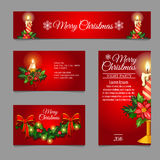 Different red cards with Christmas burning candles. And space for your text Stock Photo