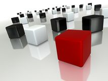 Different red cube. Red cube– difference concept picture Royalty Free Stock Photos