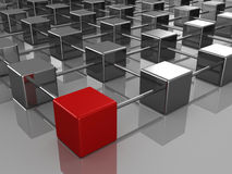 Different red cube in the hierarchical structure Stock Photography