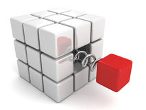 Free Different Red Cube Jump Out From White Crowd Group Stock Photos - 34324663