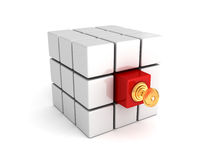 Different red cube with lock key. leadership concept Royalty Free Stock Images