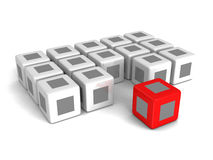 Different red cube out from crowd on white background Royalty Free Stock Photo