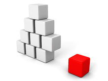 Different red cube out from white blocks pyramid. Individuality concept 3d render illustration Stock Photo