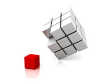 Different red cube out from white group Stock Images