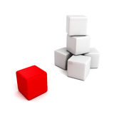 Different red cube out from white tower stack Stock Images