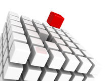 Different red cube standing out from white cubes. Build structure. Individual leadership concept 3d render illustration Royalty Free Stock Images