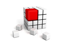 Different red cube on white backround. Leadership concept 3d render illustration royalty free illustration