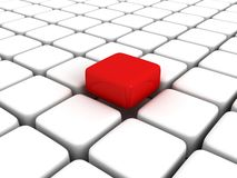 Different red cube among white cubes. 3d Stock Photo