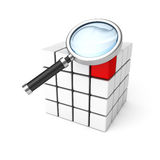 Different red cube among white cubes under magnifier glass. Concept 3d render illustration stock illustration