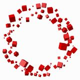 Different red cubes in circular orbit. 3d style vector illustration. Suitable for any banner, ad, technology and abstract themes Stock Photography