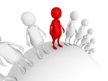 Different red 3d leader man of whitr crowd Royalty Free Stock Photos