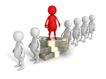 Different red 3d man on hundred dollars pile Stock Photos