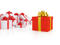 Different red gift box Royalty Free Stock Photos