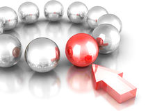 Different Red Glass Ball. Leadership Concept Stock Photo
