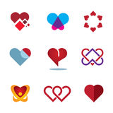 Different red heart shapes woman love symbol flower logo icon Stock Images