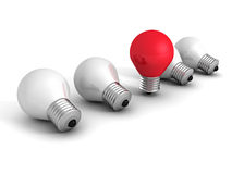 Different red idea light bulb on white. creativity concept Royalty Free Stock Photography
