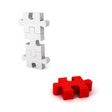 Different red jigsaw puzzle piece out from white group. Unique concept 3d render illustration Royalty Free Stock Photo