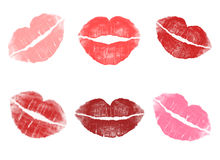 Different Red Lipstick Imprint Backgrounds On White Backgrounds Royalty Free Stock Image