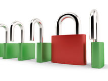 Different red padlock Royalty Free Stock Images