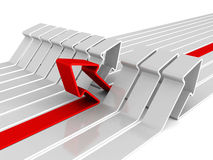Different red rising arrow out from white group Royalty Free Stock Images