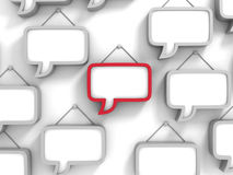 Different Red Speech Bubble On White Wall. 3d Render Illustration stock illustration