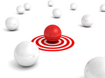 Different red sphere inother crowd on target Stock Photography