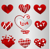 Different red valentines day hearts Stock Images