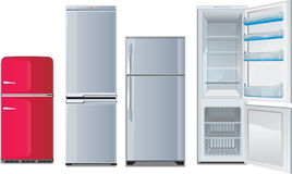 Different refrigerators. Retro and new, open and closed Stock Photography