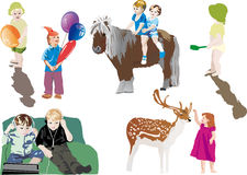Different relaxing children illustration Royalty Free Stock Photo