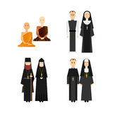 Different religion monk set Royalty Free Stock Photo