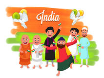 Different Religion People for Indian Independence Day. Stock Photography