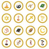 Different religions cartoon icon circle. Cartoon isolated vector illustration Stock Photography