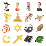Different religions cartoon icons set Royalty Free Stock Photos