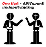 Different religious beliefs. A illustration showing different understanding of God stock illustration