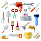 Different Repair Theme Flat Icons On White Background Royalty Free Stock Photos